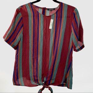 Madewell Striped Rosalinda Button-Back Tie Tee
